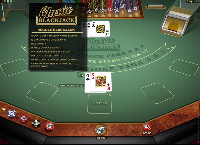 blackjack 21 regole