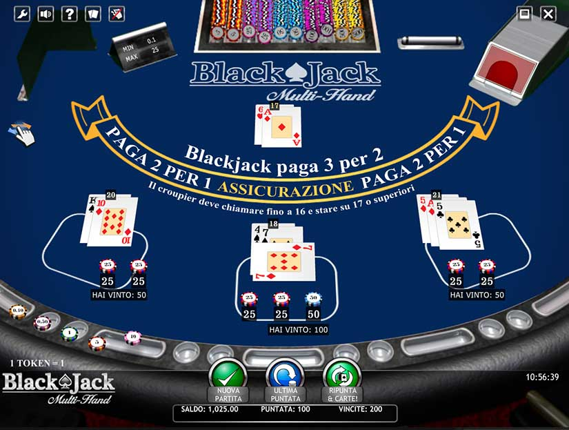 blackjack multi mano