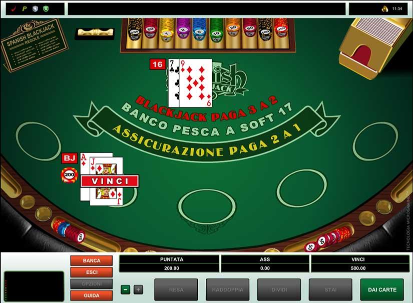 blackjack spagnolo