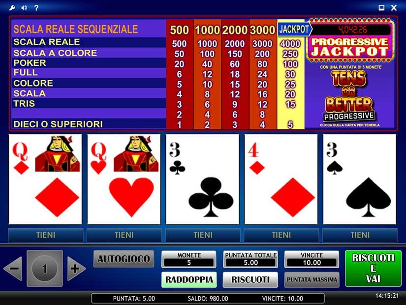 video poker progressivi
